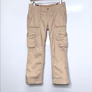 ROCK REVIVAL Beige Crop Embellished Cargo Pants